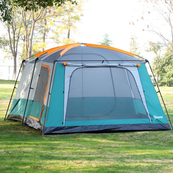 Outsunny Outdoor 3-Room Camping Tent For 10-12 W/ Carrying Bag