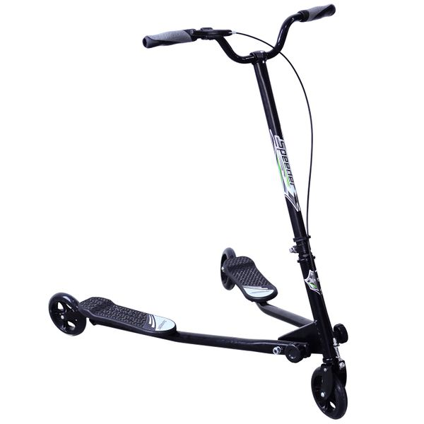Qaba 3 Wheels Tri Kids Scooter Height Adjustable for Age 8+ Black|Aosom Canada