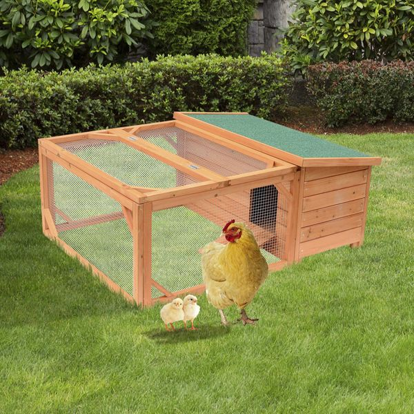 """Pawhut Small Wooden Bunny Rabbit & Guinea Pig Chicken Coop w/ Outdoor Run 49.2"""" Garden Wood Hutch Poultry House   Aosom Canada"""