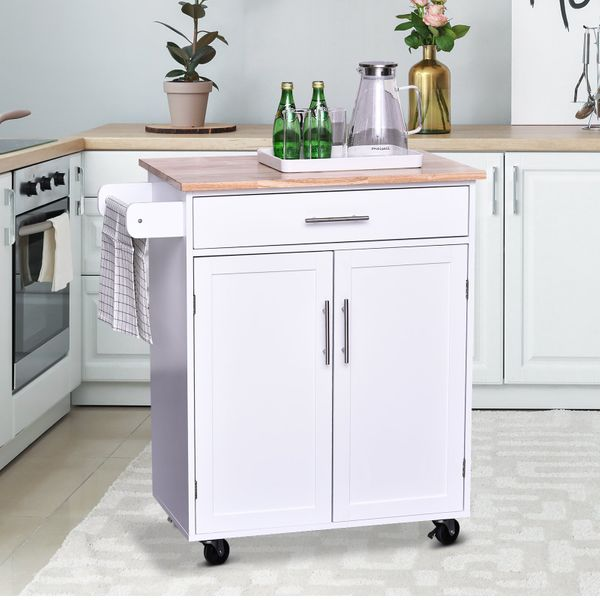 HOMCOM Kitchen Trolley Serving Cart Rolling with Drawer and Towel bar White|AOSOM.CA