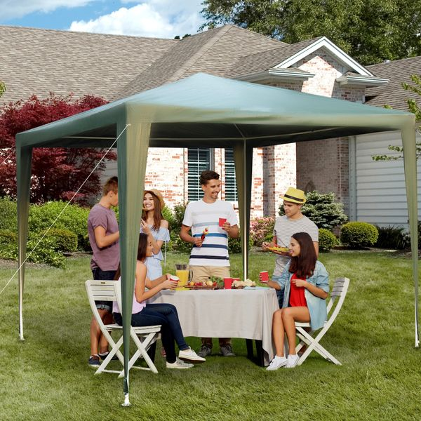 Outsunny 9x9ft Outdoor Gazebo Canopy Party Tent Portable Sunshade with Carrying Bag Dark Green|Aosom.ca