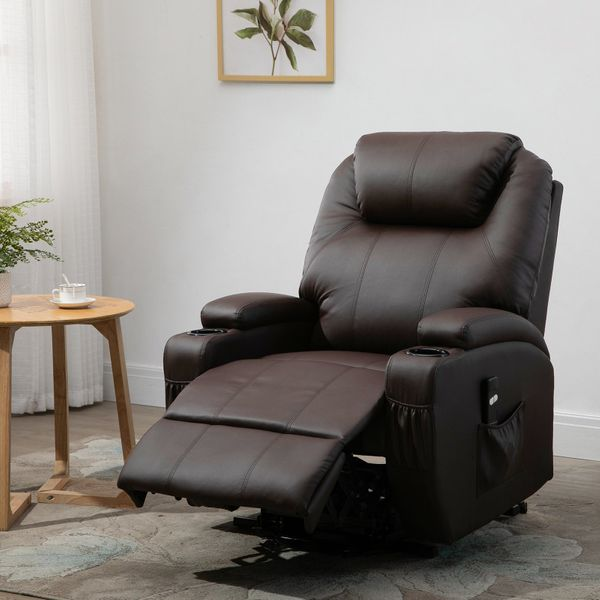 HOMCOM Electric Power Lift Recliner Chair Padded PU Sofa for Elderly with Remote Control Cup Holders Reinforced Heavy Duty Reclining Mechanism for Living Room Brown w/   Aosom Canada
