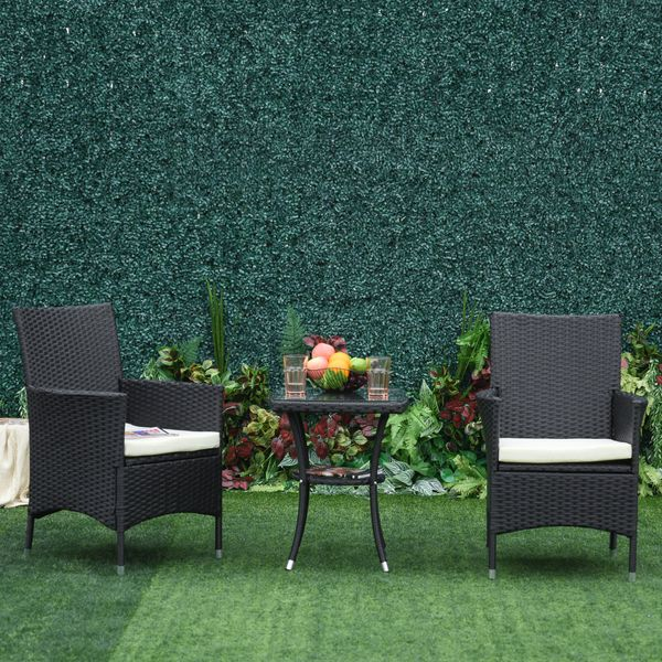 Outsunny 3pcs Rattan Coffee Set Garden Furniture All Weather Coffee Table Black