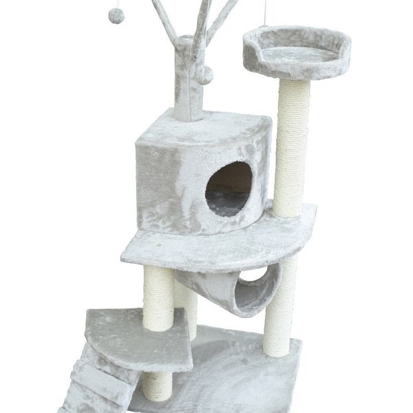 "PawHut Pet Cat Scratch Tree Condo Post House Bed 47"" Scratching Tower With cave Kitty Tunnel Ladder w/ Toy Grey 