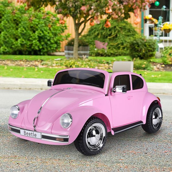 Aosom Licensed Volkswagen Beetle Electric Kids Ride-On Car 6V Battery Operated Cars With Parental Remote Control Music Horn Lights Mp3 For 3 - 6 Years Old Pink | Aosom Canada