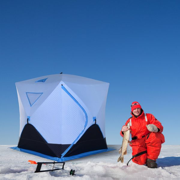 Outsunny Portable 4-Person Ice Fishing Tent Shelter with Ventilation Windows and Carry Bag Light blue Navy|Aosom Canada