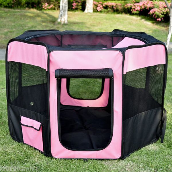 PawHut 46-inch Pet Playpen Soft Exercise Puppy Dog Pen Portable Crate Easy Storage Folding Kennel w/ Carry Bag Pink 6 Options | Aosom Canada