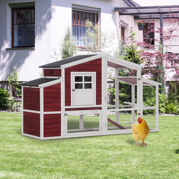 """PawHut 79'' Large Fir Wood Chicken Coop with Nesting and Running Box Red & White 79"""" Wooden Outdoor Hen House Small Animal Livestock Cage Enclosure   Aosom Canada"""