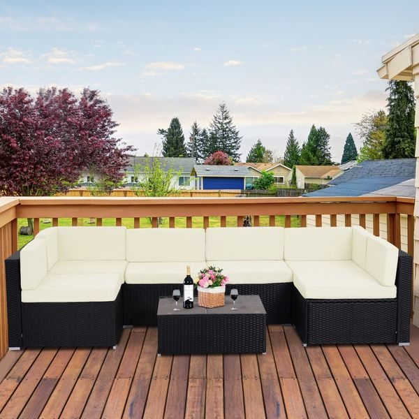 Outsunny 7pcs Outdoor Patio Furniture Set All Weather Wicker Rattan Conversation  Coffee Table Sofa Chair|AOSOM.CA