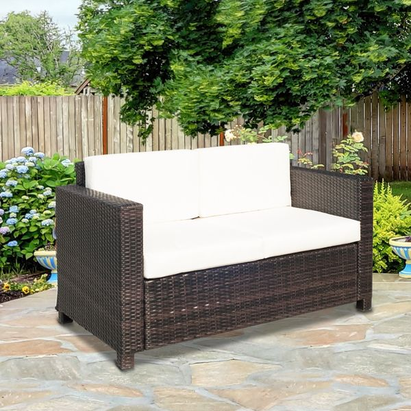 Outsunny Deluxe 2 Seat Rattan Wicker Sofa Garden Cushioned Loveseat Outdoor Patio Furniture Brown