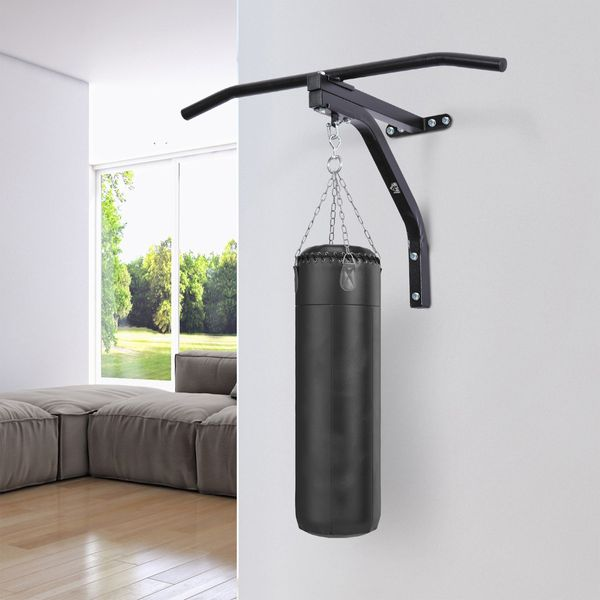 Soozier Heavy-duty Wall Mounted Pull Up Bar with Bag Hanger and Boxing Training Hook (Punching Bag Excluded)