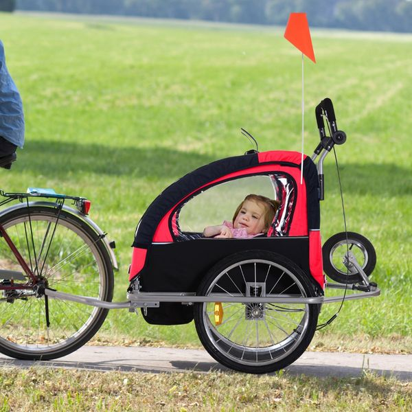 Aosom 2-in-1 Double Baby Bike Trailer Child Bicycle Stroller Jogger - Black/Red