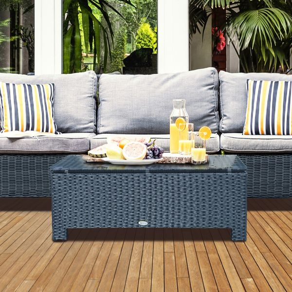 Outsunny Rattan Wicker Coffee Table with Glass Top Outdoor Garden Patio Furniture Black Aosom.ca