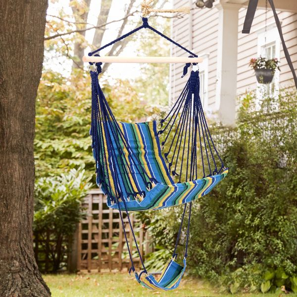 Outsunny Hanging Hammock Chair Swing Seat for Any Indoor or Outdoor Spaces