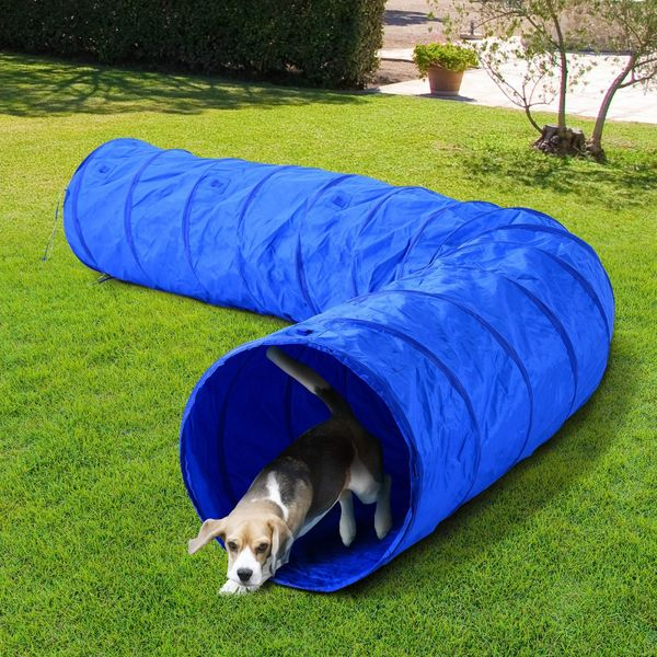 PawHut 16.4ft Dog Tunnel Pet Agility Exercise Training 300D High Quality Oxford Portable Puppy Soft Crate Obedience Supply Blue | Aosom Canada