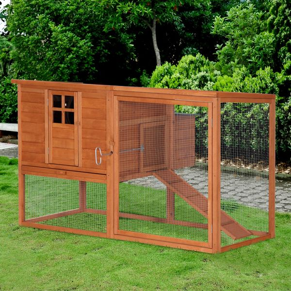 """PawHut 66""""x44""""x40"""" Wooden Chicken Coop Rabbit Hutch Backyard Garden Poultry Hen House with Nesting Box and Outdoor Run"""