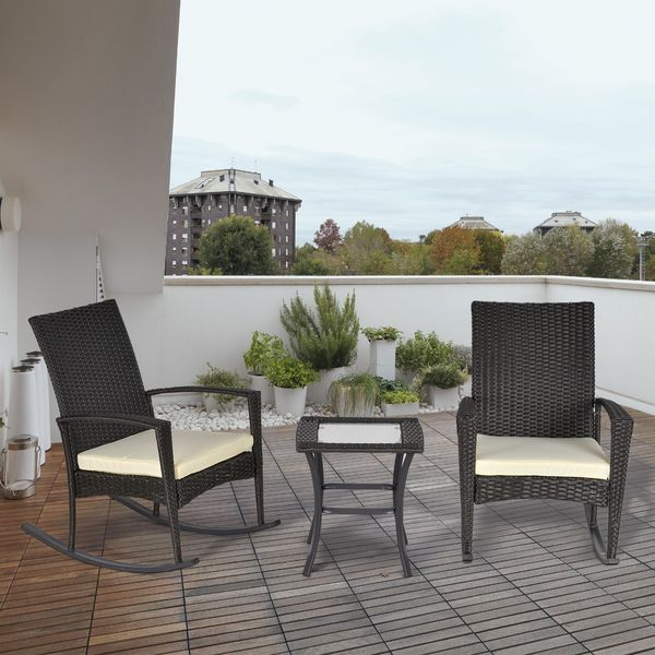 Outsunny 3pcs Rocking Chair Table Set Outdoor Wicker Furniture 2 Chair 1 Coffee Table Backyard