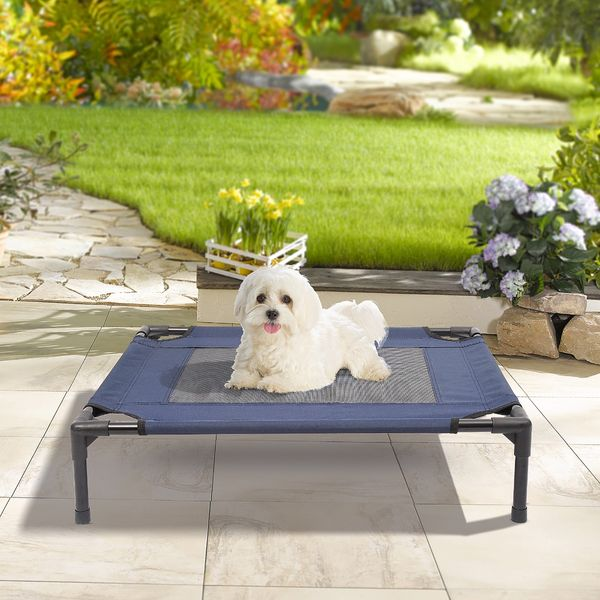 PawHut Elevated Pet Bed Dog Cat Cot Cozy Beds Camping Comfortable, Blue and Black