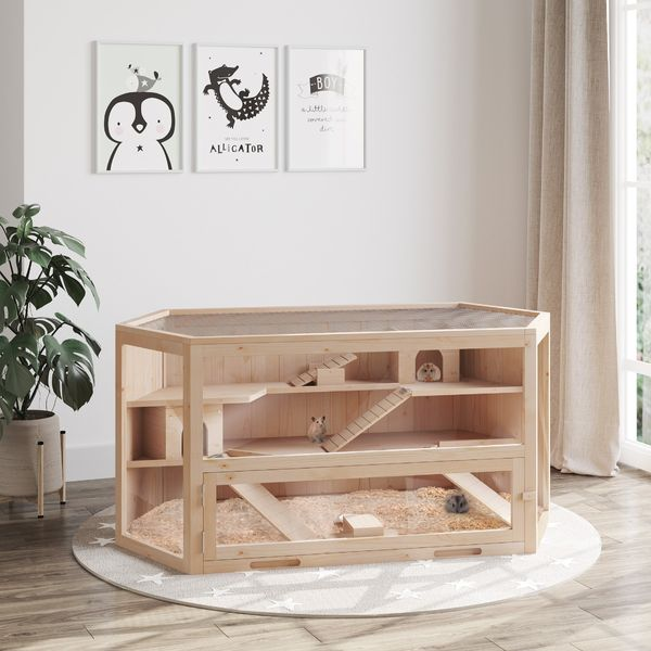 PawHut Fir Wood Hamster Cage Mouse Rats Small Animal Exercise Play House 3 Tier with Slide Activity Center