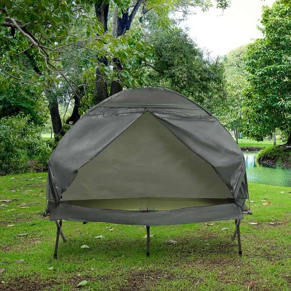 Outsunny Compact Pop Up Portable Folding Outdoor Elevated Camping Cot Tent Combo Set Dark Green | Aosom Canada