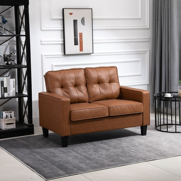 """HOMCOM 51"""" Double Sofa with Armrest, Tufted PU Leather Loveseat with Pocket Spring Sponge Padded Cushion, for Living Room, Bedroom, Office, Dorm"""