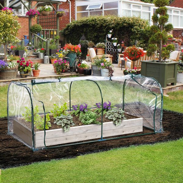 Outsunny 7' x 3' Transparent PVC Mini Tunnel Greenhouse Garden Green Grow Shed Portable Plant Flower Warm House Steel Frame Zipped Doors