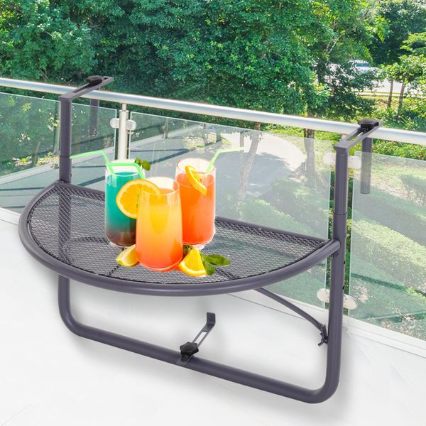 Outsunny Adjustable Balcony Hanging Rail Table Mini Desk Storage Rack Flower Stand Grey Height | Aosom Canada