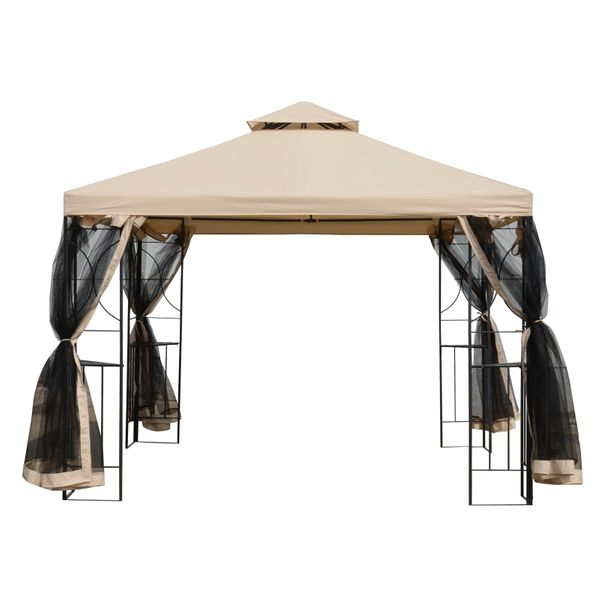 Outsunny Outdoor Patio Gazebo Pavilion Canopy Tent Steel w/ Mosquito Netting | Aosom Canada