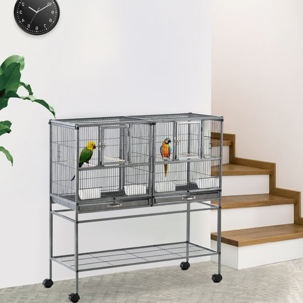 PawHut Large Double Rolling Metal Bird Cage Bird House with Removable Metal Tray Storage Shelf Wood Perch Food Container w/   Aosom Canada