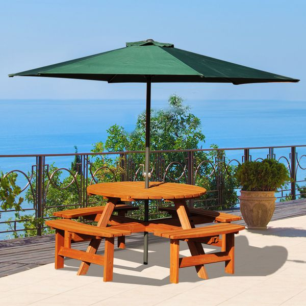Outsunny 8 Seater Round Wooden Pub Bench Picnic Table Garden table Furniture Set for Outdoor |Aosom Canada