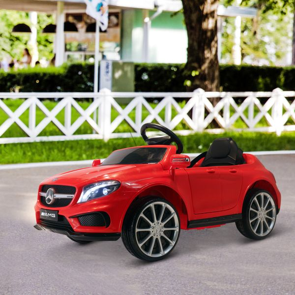 Qaba 6V Ride on Car Kids Licensed Mercedes Benz Ride On Car High/Low Speed Headlight Music Red   Aosom Canada