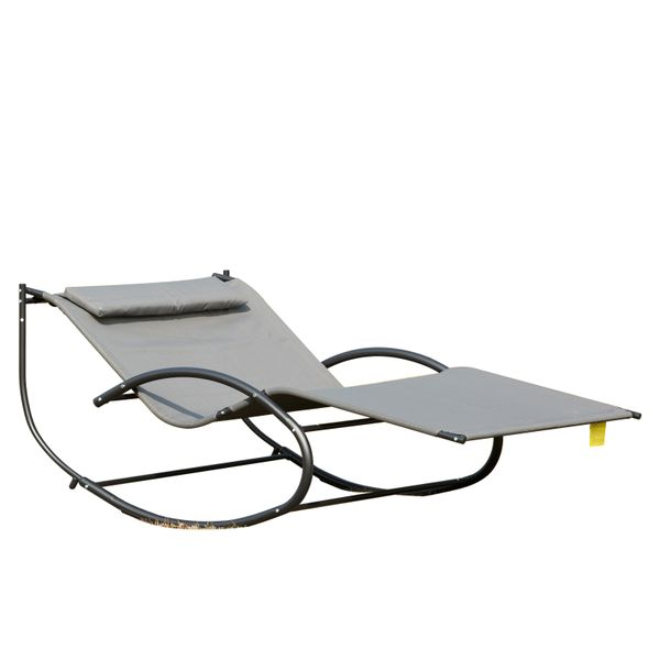 Outsunny Double Chaise Rocker Sun Lounger Outdoor Hammock Chair Garden Furniture with Pillow Grey w/ | Aosom Canada
