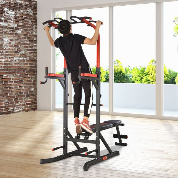 Soozier Pull Up Bar Station Power Tower for Home Gym Traning Workout Equipment With Sit Up Bench | Aosom Canada