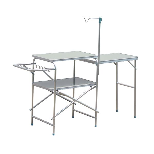 Outsunny 6' Portable Fold-Up Camp Kitchen - Silver|Aosom.ca