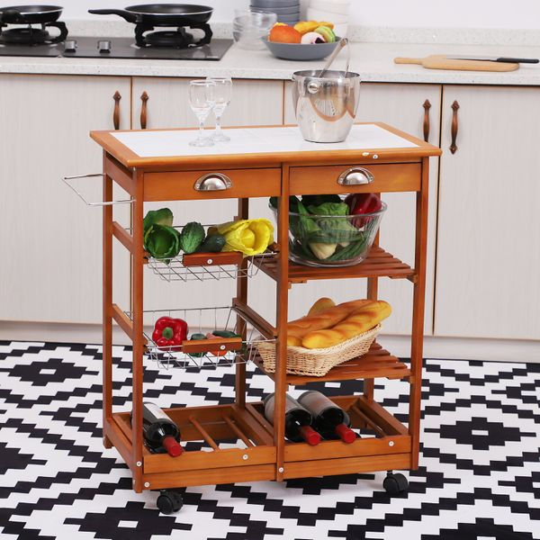 HOMCOM Kitchen Cart 4 Tier 2 Drawers Rolling Trolley Storage Wooden Table Rack Baskets Countertop Wine Buffet | Aosom Canada