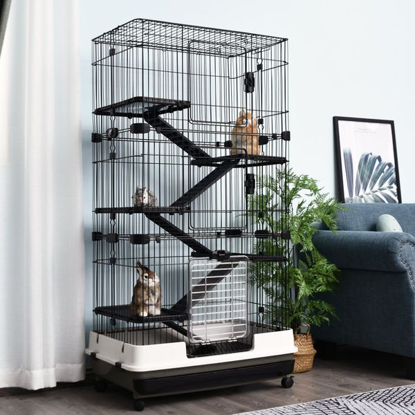 """PawHut 6-Level Rabbit or Small Animal Hutch/Cage Perfect for Your Child's Furry Family Member 57.5"""" H Black 