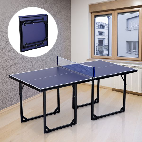 Soozier 6x3ft Compact Midsize Ping Pong Table Tennis Folding Multi-Use Free Standing Family Activity Equipment Blue   Aosom Canada