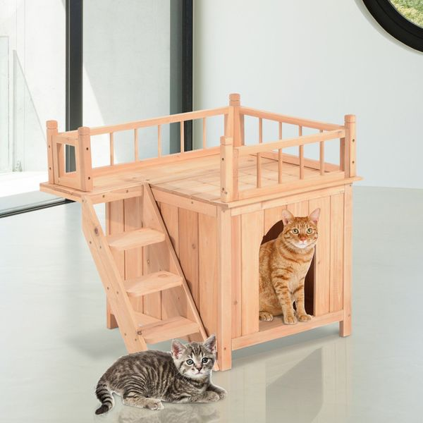 Wood Pet House Cat Tree 2-Story Small Puppy Bed Platform Outdoor Kennel w/ Stair   Aosom Canada