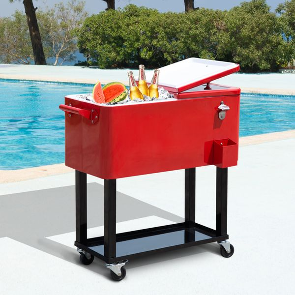 Outsunny Outdoor Ice Cooler Patio 80 quart Party Portable Rolling Cooler Cart Ice Beer Beverage Steel Cooling Bin Red|Aosom Canada