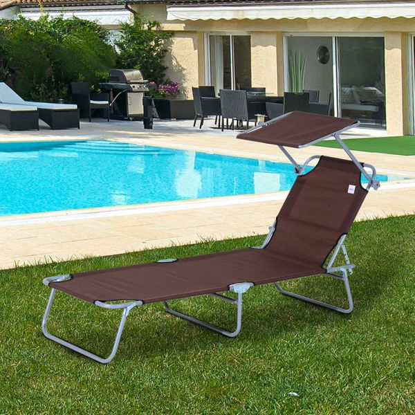 Outsunny Reclining Chair Folding Lounger Garden Outdoor Adjustable w/ Sun Shade(Brown)|Aosom.ca