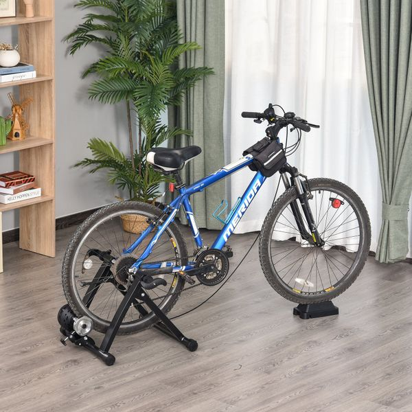 Soozier Indoor Bike Trainer Magnetic Exercise Bicycle Cycling Stand w/ 5 Level Resistance Black | Aosom Canada