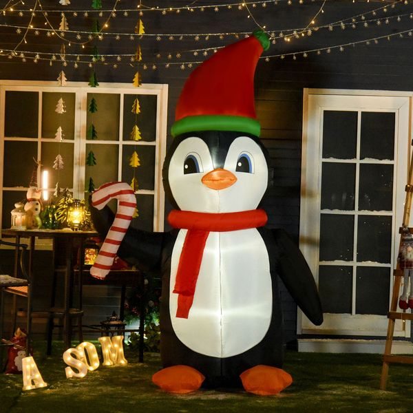 HOMCOM 8.2' Inflatable Penguin Holding Candy Cane Oversize Holiday Outdoor Yard Decoration with LED Lights Lighted Decor | Aosom Canada