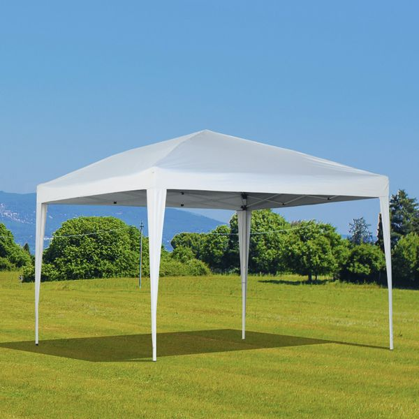 Outsunny 10x10ft Easy Pop Up Canopy Party Wedding Tent Outdoor Patio Shelter White | Aosom Canada
