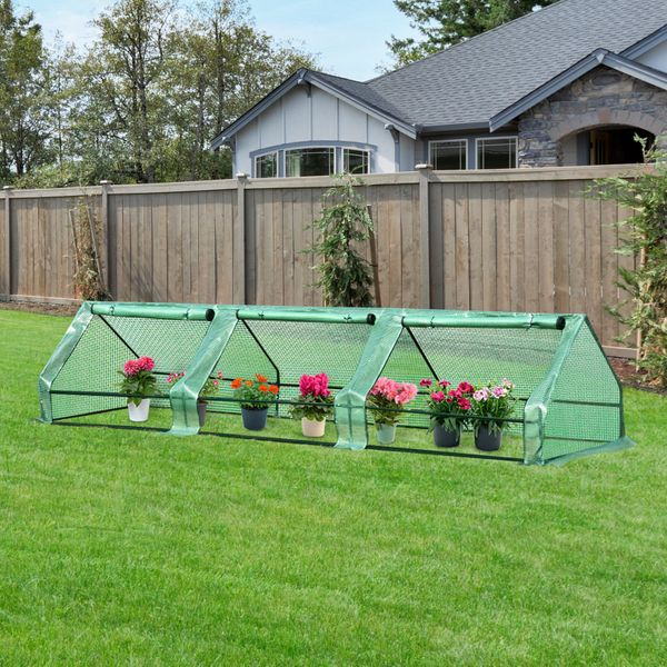 Outsunny Walk-in Plant Greenhouse 3 Doors Portable | Aosom Canada