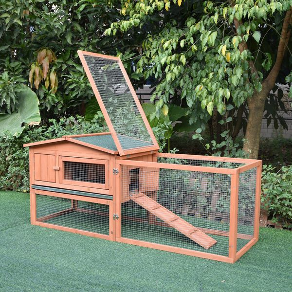 PawHut Wooden Rabbit Hutch Cage Bunny House Chicken Coop Habitats with Run Outdoor Garden|Aosom Canada