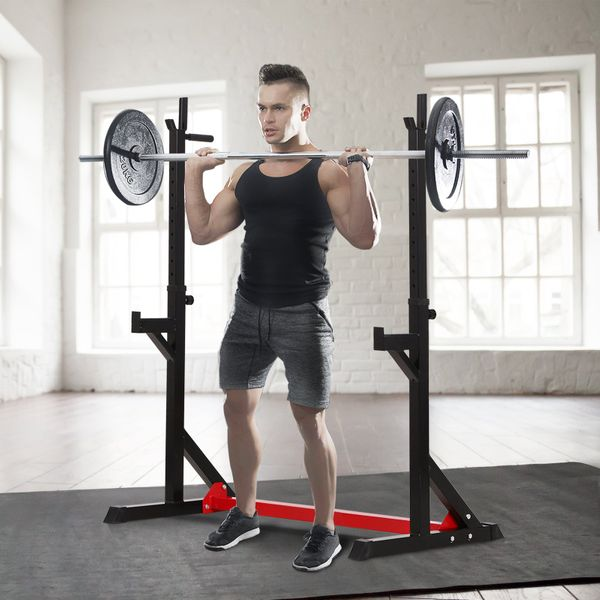 Soozier Barbell Stand Rack Adjustable Gym Family   Aosom Canada