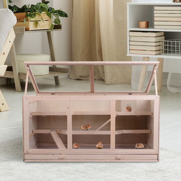 Pawhut Fir Wood Hamster Cage Mouse Rats Mice Small Animals Exercise Play House with Slide Portable Wooden Coop|Aosom Canada