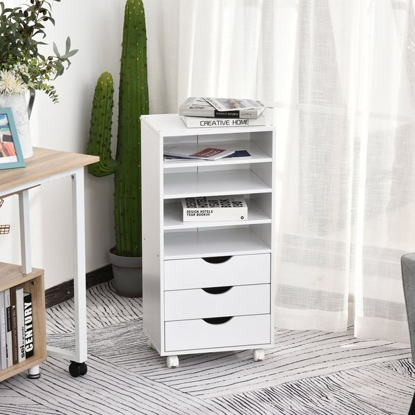 Vinsetto 3 Drawers Wooden File Cabinet with 4 Caster Wheels 4 Open Shelves Mobile Filing Organizer for Home & Office White 3-Drawer W/Wheels Storage Drawer Chest | Aosom Canada