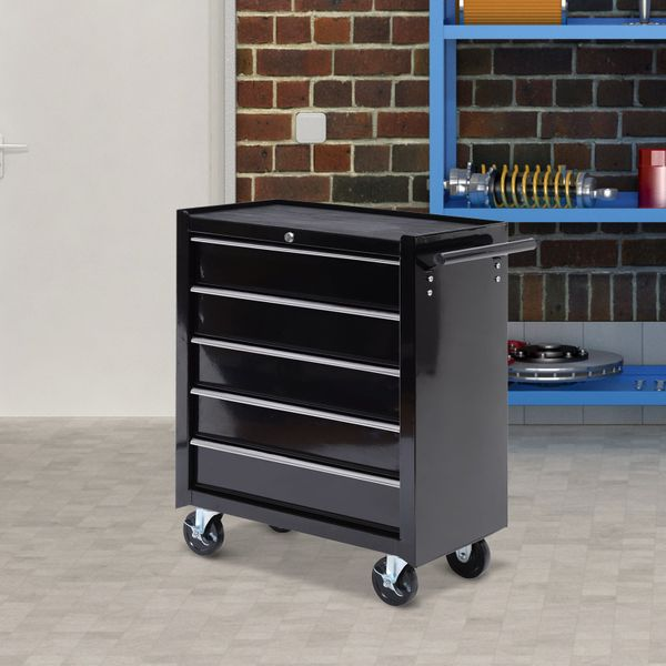 """HomCom Non-skid rubber on the top 5 Drawer Storage Tool Box with Wheels 31"""" Steel Rolling Cabinet Wheeled Cart Box Black 