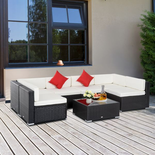 Outsunny 7 Pieces Garden Wicker Sectional Sofa Lounge Set All Weather Patio Outdoor Furniture with Cushion Upgraded Version Dark Coffe & Cream White|Aosom Canada
